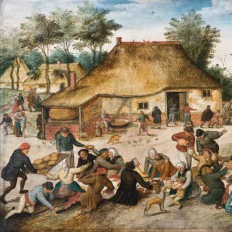 """Najpiękniejsza z chłopskich córek? Najstarszy syn? A może wdowa? Z kim opłacało się żenić w średniowiecznej wsi? Fragment obrazu Pietera Bruegela Młodszego """"Chłopskie wesele""""."""