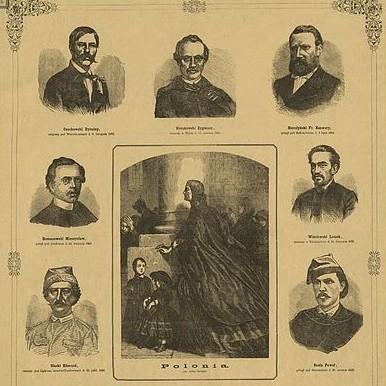 Drzeworyt przedstawiający Leszka Wiśniowskiego oraz innych poległych w powstaniu styczniowym.
