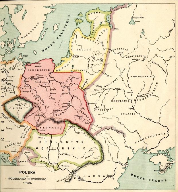 """Państwo Bolesława Chrobrego z """"Atlasu do dziejów Polski"""" E. Niewiadomskiego z 1898 roku."""