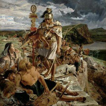 Przy budowie Wału Hadriana (mal. John Clayton, domena publiczna)