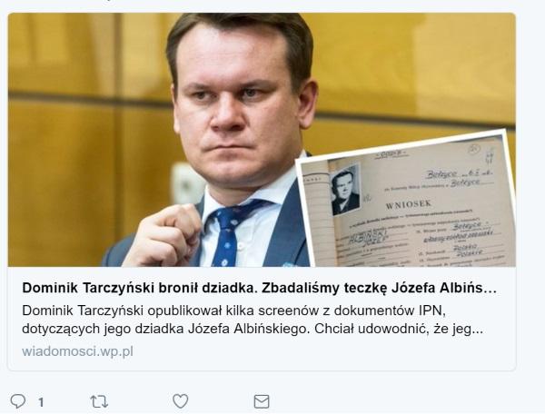 Screen postu w serwisie Twitter z informacją o publikacji WP.pl.