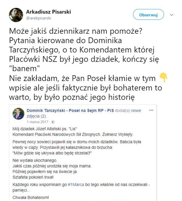 Screen z konta Twitter z wpisem zachęcającym dziennikarzy do zajęcia się tematem.