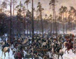 """Armat używano już w trakcie powstania listopadowego. Na ilustracji obraz J. Rosena """"Bitwa pod Stoczkiem"""""""