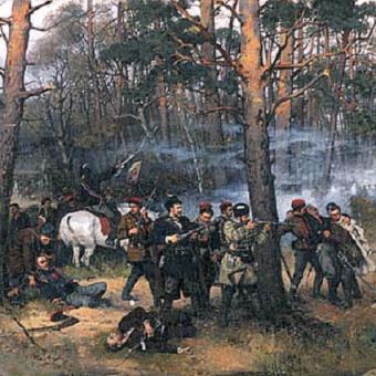 Obraz T. Ajdukiewicza Scena z Powstania Styczniowego.