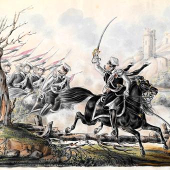 Szwadrony Jazdy Wołyńskiej brały udział m.in. w bitwie pod Salichą. Na ilustracji XIX-wieczne przedstawienie tej formacji.