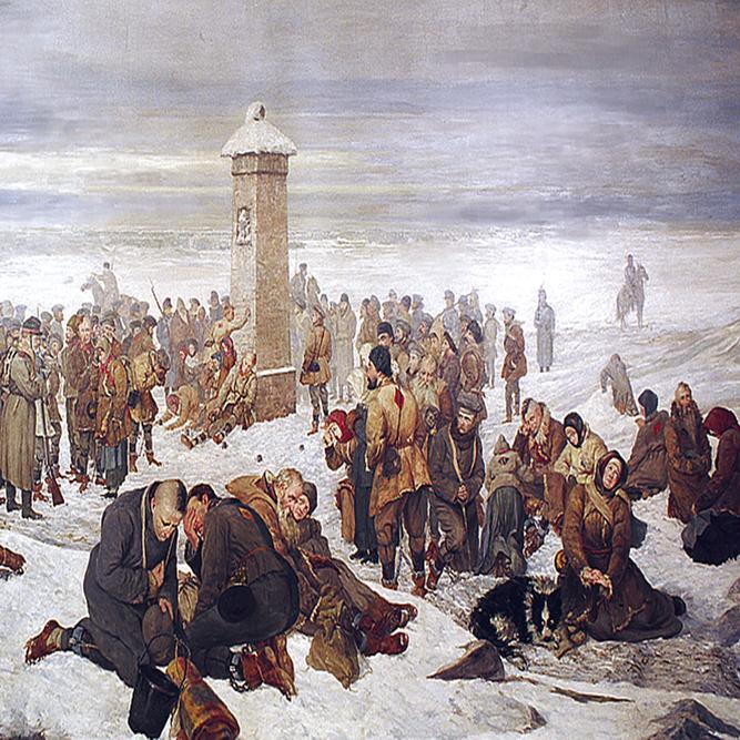 """Bitwa pod Fajsławicam, była klęską powstańców. Na ilustracji obraz """"Pożegnanie Europy""""."""