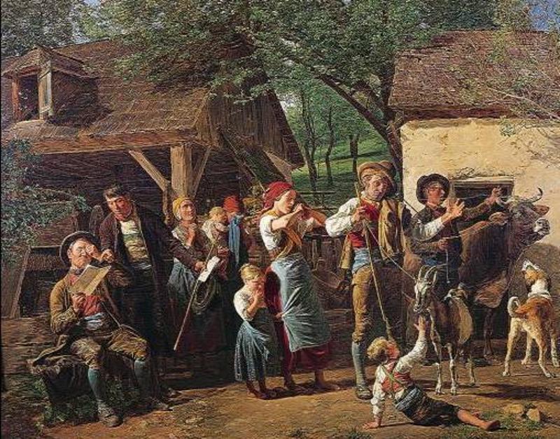"""Rabacja galicyjska utworzyła kolejne przepaści pomiędzy chłopami i innymi klasami społeczeństwa. Na ilustracji """"Wywłaszczenie chłopów w Austrii""""."""