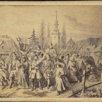 Tak jak wiele innych zgrupowanie Władysława Rudnickiego było złożone z tylko częściowo uzbrojonych chłopów. Na ilustracji wymarsz powstańców z Grodna.