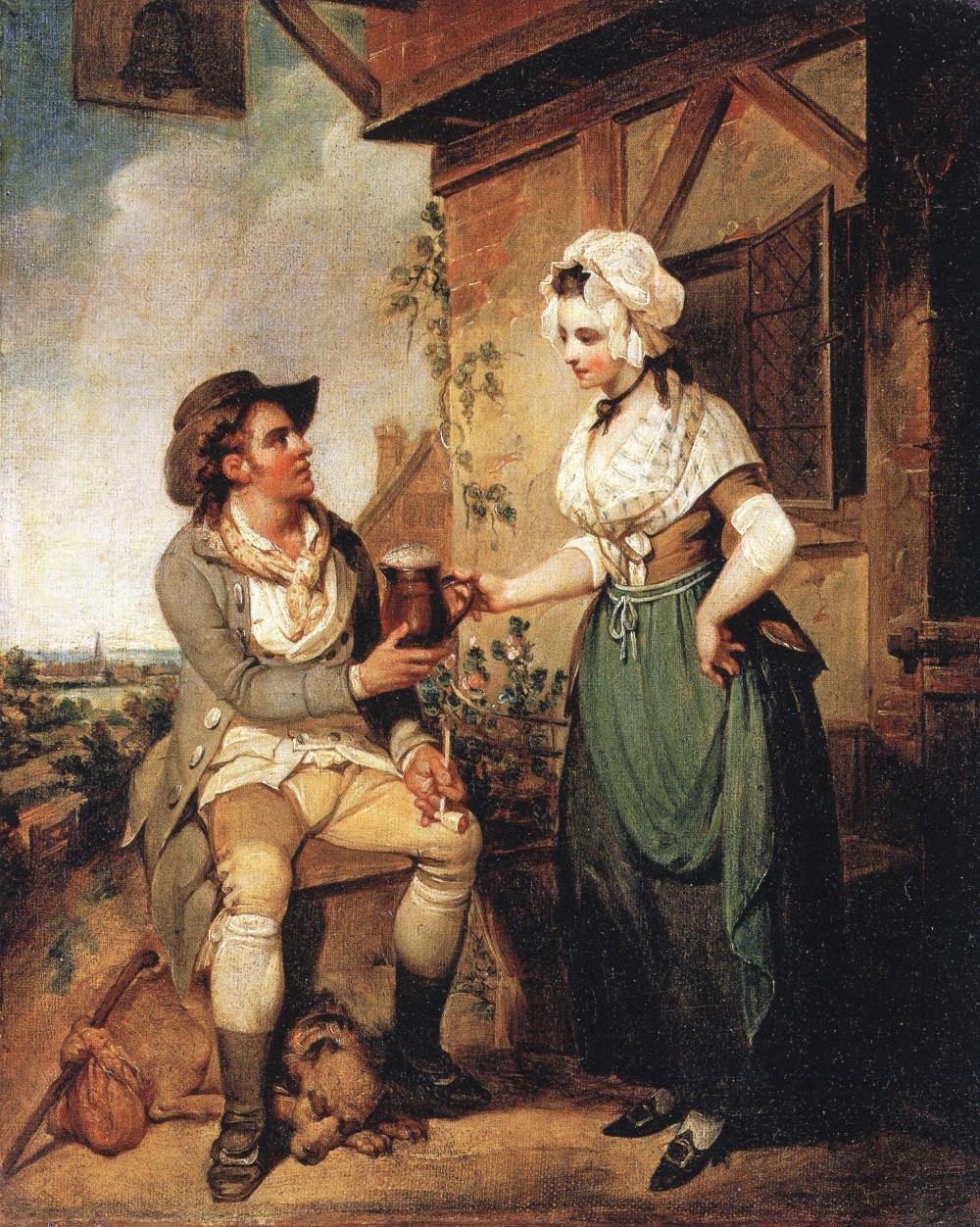 """Wyobrażenie, jakie mamy o roli kobiet w średniowieczu znacznie różnią się od prawdy. Angielskie chłopki mogły piastować urząd kipera, odpowiedzialnego za produkcję i testowanie jakości piwa. Obraz Henry'ego Singletona """"The Ale House Door""""."""