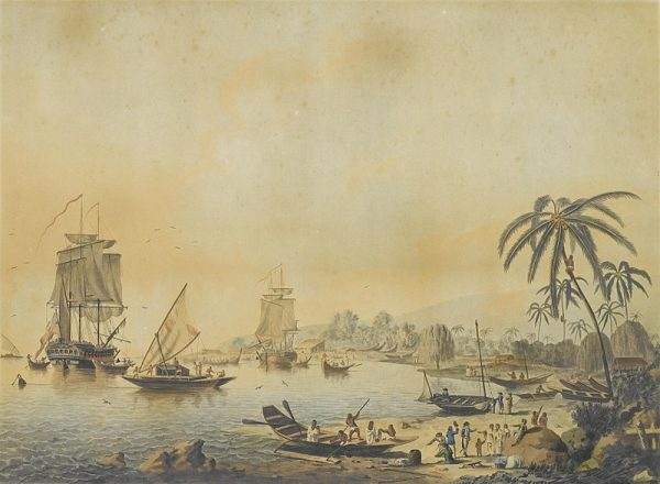 Pojęcie Wchodu, Zachodu i środka świata było zawsze względne. Na ilustracji statki ekspedycji Jamesa Cooka u wybrzeży Tahiti.