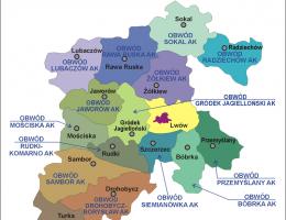 Mapa okręgu Lwów Armii Krajowej (styczeń- sierpień 1944).
