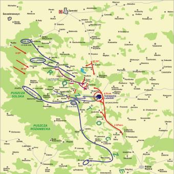 Mapa pierwszej bitwy pod Tomaszowem Lubelskim.