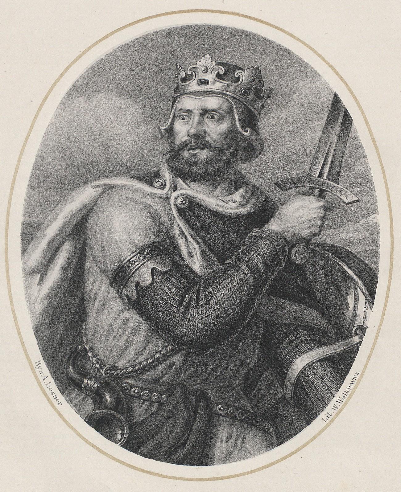 Według Galla Anonima Bolesław miał zareagować gniewem na słowa głogowskich posłów. Inaczej sytuację przedstawił Wincenty Kadłubek. Na ilustracji podobizna władcy autorstwa Aleksandra Lessera.