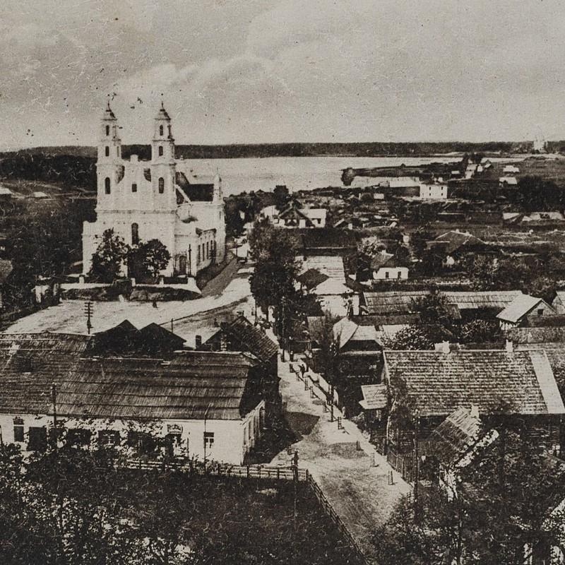 Głębokie, widok ogólny. Pocztówka z 1918 roku.