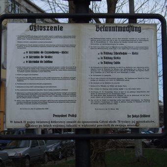 Replika ogłoszenia nakazującego gdynianom opuszczenie swoich domów.