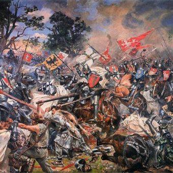 Tak bitwę pod Grunwaldem wyobrażał sobie Wojciech Kossak.