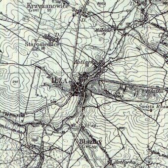 Iłża na mapie Wojskowego Instytutu Geograficznego z 1934 roku