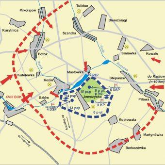 Przebieg bitwy pod Kaniowem. Kolorem czerwonym wojska niemieckie, niebieskim polskie.