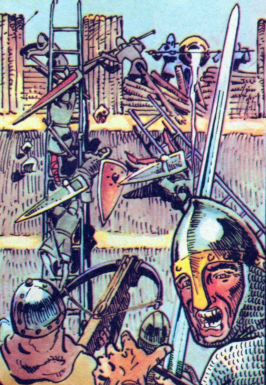 Załoga Głogowa na czas zamknęła bramy grodu, jednak jej położenie było bardzo trudne. Dlatego zdecydowano się na pertraktacje z Henrykiem. Na ilustracji rysunek autorstwa Marka Szyszki, opublikowany za jego zgodą.