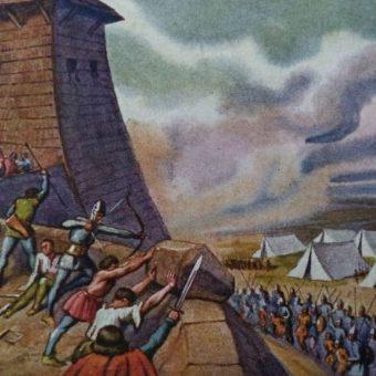 Obrona Głogowa na przedwojennej pocztówce.