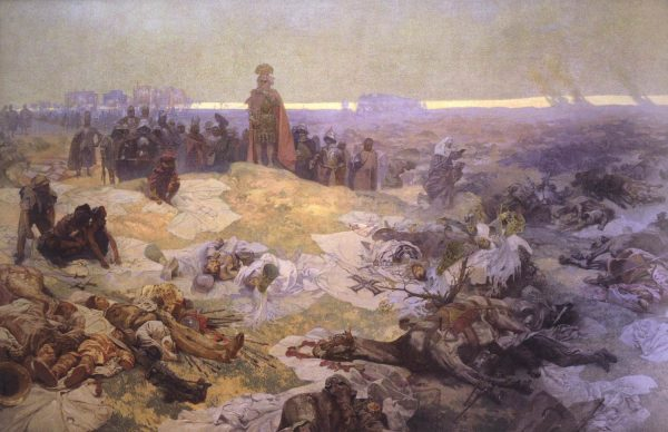 """Po bitwie pod Grunwaldem"" obraz Alphonse'a Muchy."