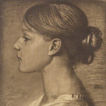 Portret anonimowej dziewczyny. Praca Franza von Stucka z przełomu XIX i XX wieku.