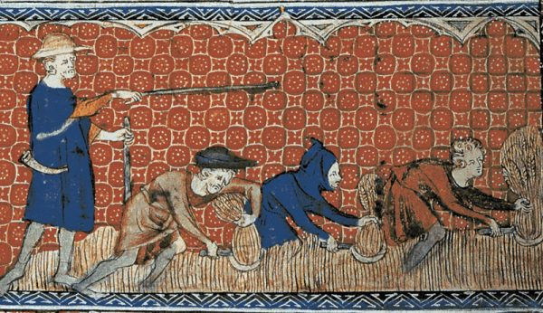 Podczas gdy dla lordów system feudalny miał charakter głównie polityczny, dla chłopów było to pojęcie czysto abstrakcyjne. Miniatura średniowieczna z Psałterza Królowej Marii.