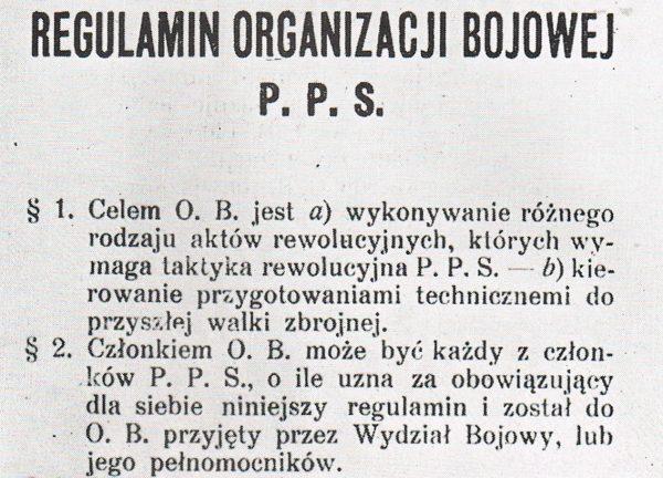 Założona w 1904 roku Organizacja Bojowa PPS ćwiczyła się między innymi w walce zbrojnej. Na ilustracji fragment regulaminu OB PPS.
