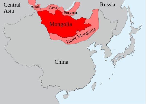 Terytoria zamieszkałe obecnie przez Mongołów (lic. CC0)