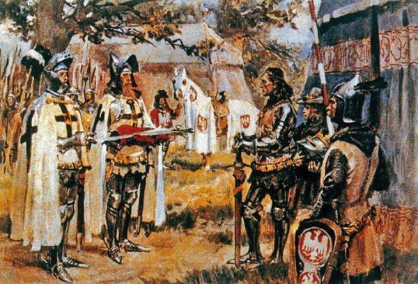 Krzyżacy wręczają Jagielle dwa nagie miecze. Obraz Wojciecha Kossaka.