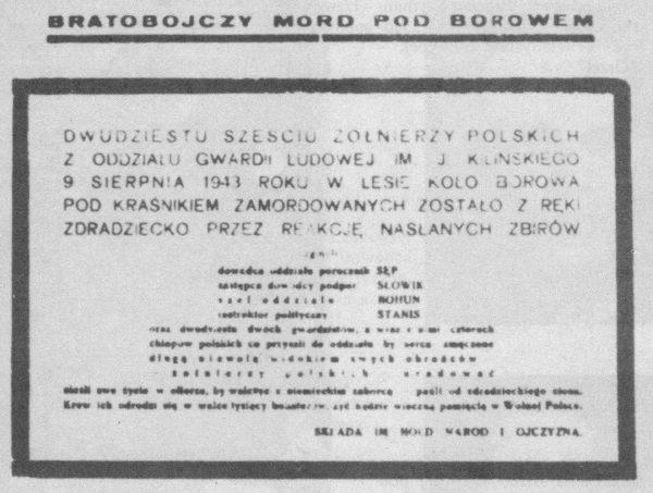 """Zbrodnia pod Borowem została opisana między innymi w gazecie GL """"Gwardzista""""."""