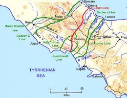 Mapa przedstawiająca niemieckie linie obronne we Włoszech.
