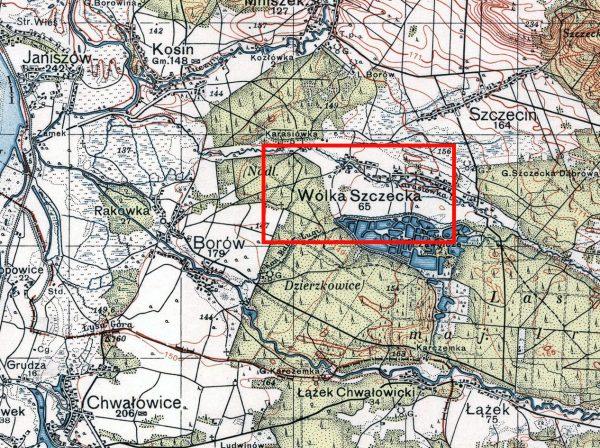 Oddziały GL i NSZ spotkały się niedaleko Borowa, koło miejscowości Wólka Szczecka. Mapa Wojskowego Instytutu Geograficznego sprzed wybuchu wojny.