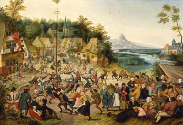 Oprócz ciężkiej pracy, na średniowiecznych chłopów czekało także niemało rozrywek. Obraz Pietera Brueghela Młodszego.