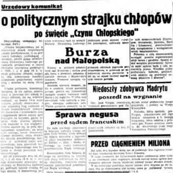 O strajkach chłopskich pisała także prasa socjalistyczna.