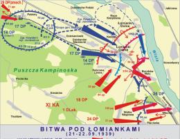 Jak wyglądały manewry wojsk podczas bitwy? Przedstawia to powyższa mapka.