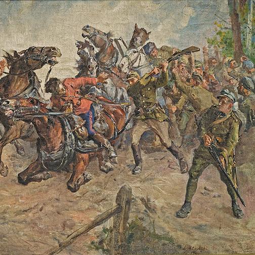 Starcie z bolszewikami na obrazie Stanisława Batowskiego-Kaczora.