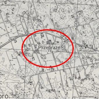 Fragment mapy Wojskowego Instytutu Geograficznego z zaznaczonym Przebrażem.