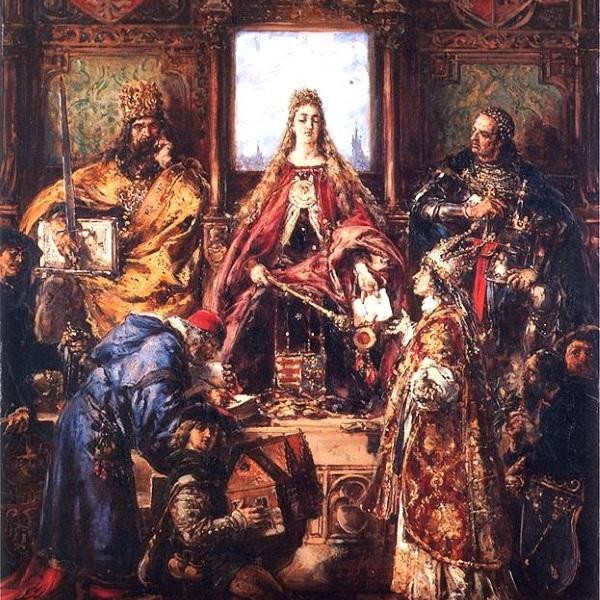 Fragment obrazu Matejki poświęconego założeniu Szkoły Głównej (fot. domena publiczna)
