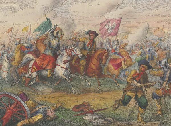 Polacy szarżują pod Kircholmem na rysunku Henryka Pillatiego.