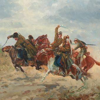 Potyczka ułanów z bolszewikami. Obraz Leonarda Winterowskiego.