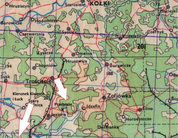 Fragment mapy Wojskowego Instytutu Geograficznego z zaznaczonym Przebrażem i częścią miejscowości wymienionych w tekście.
