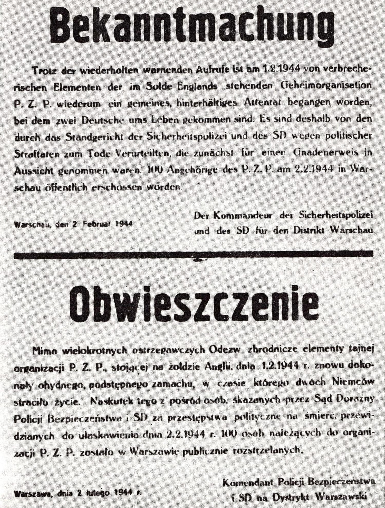 Obwieszczenie informujące o straceniu 100 polskich zakładników w dniu 2 lutego 1944 roku.