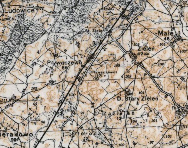 Pływaczewo na mapie Wojskowego Instytutu Geograficznego z 1937 roku.
