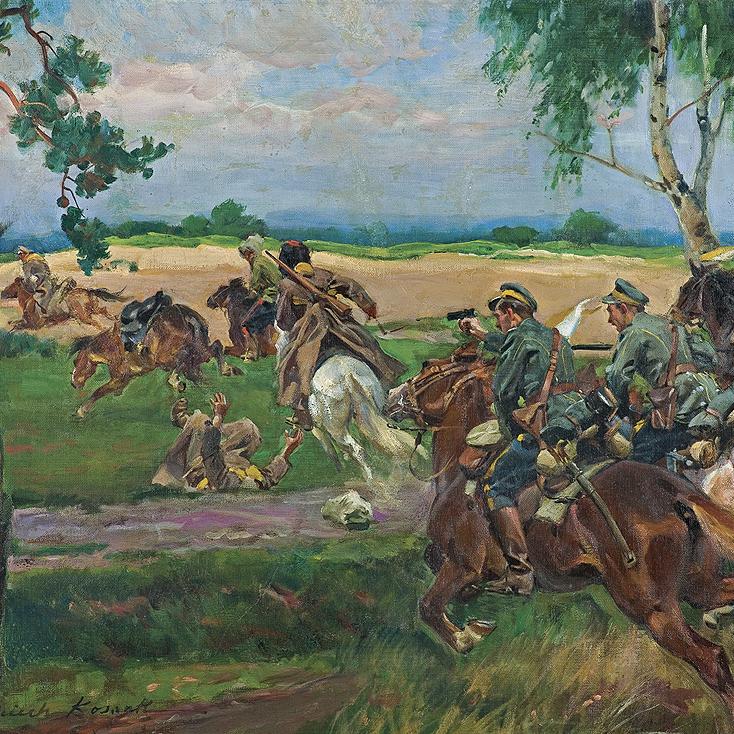 Pogoń za bolszewikami, obraz Wojciecha Kossaka.