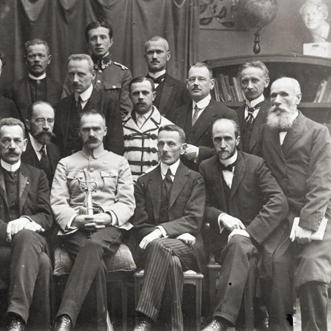 Leon Wasilewski i inni przedstawiciele PPS w rządzie w 1918 roku..