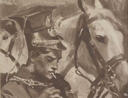 Ułan zapalający papierosa. Obraz Wojciecha Kossaka sprzed 1939 roku.