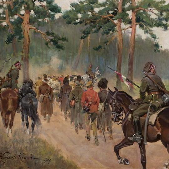 Ułani eskortuję bolszewickich jeńców. Obraz Wojciecha Kossaka.