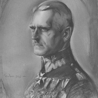 Dowódca 15 Dywizji Piechoty generał Władysław Jung na pastelu Józefa Kidonia.