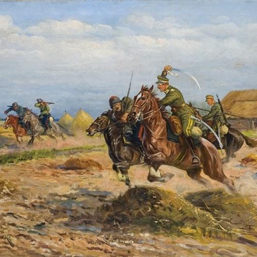 Ułani w pogoni za sowieckimi kawalerzystami. Obraz Leonarda Winterowskiego.